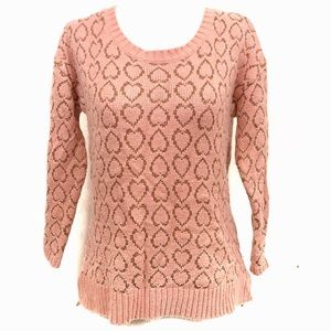 Maison Jules Pink sweater with gold heart pattern